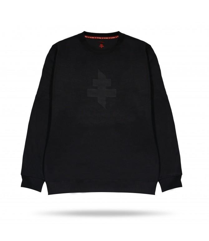 Sweat noir col rond croix